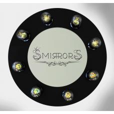 Black circle shaped illuminated mirror